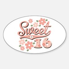 Pretty Pink Sweet 16 Oval Decal