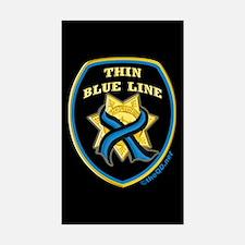 Thin Blue Line Ribbon Shield Rectangle Sticker 10