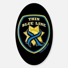 Thin Blue Line Ribbon Shield Oval Decal