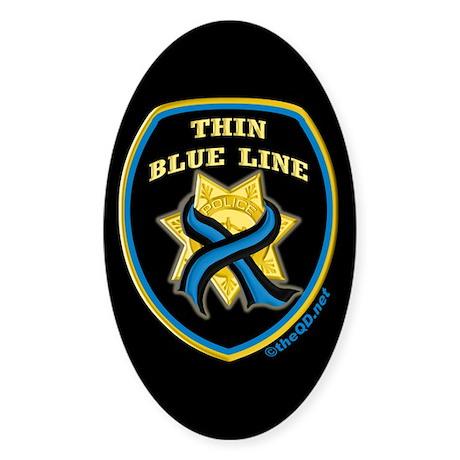Thin Blue Line Ribbon Shield Oval Sticker