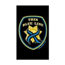 Thin Blue Line Ribbon Shield Rectangle Decal