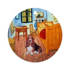 Basset in Van Gogh's Room Keepsake (Round)