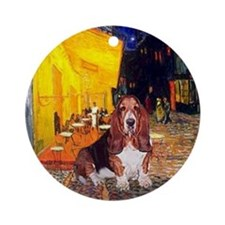 Basset & Terrace Cafe (Van Gogh) Keepsake (Round)