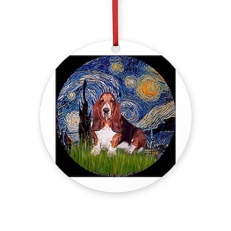 Basset in Starry Night Keepsake (Round)