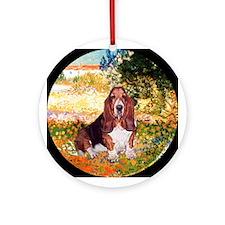 Basset in Van Gogh's Garden Keepsake (Round)
