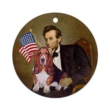 Lincoln and his Basset Keepsake (Round)