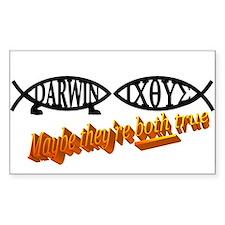 Christian/Darwin Fish Rectangle Decal