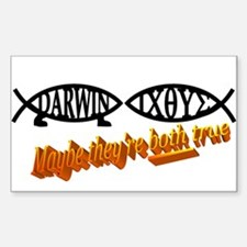 Christian/Darwin Fish Rectangle Decal