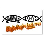 Christian/Darwin Fish Rectangle Sticker