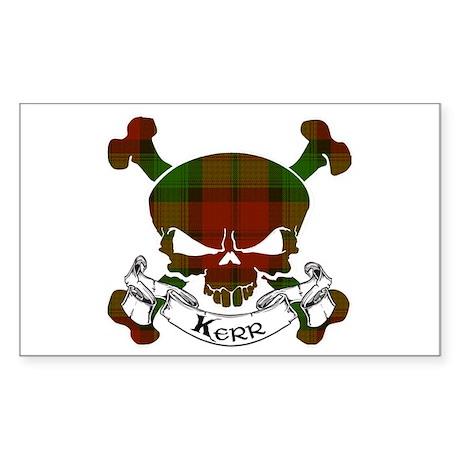 Kerr Tartan Skull Sticker (Rectangle)