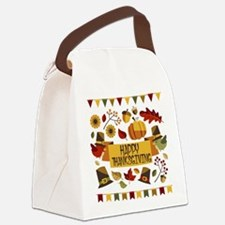 happy thanksgiving day! Canvas Lunch Bag