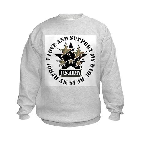Dad Kids Army Love Support Kids Sweatshirt