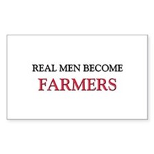 Real Men Become Farmers Rectangle Decal