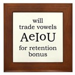 Will Trade Vowels Framed Tile