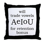 Will Trade Vowels Throw Pillow