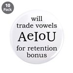 "Will Trade Vowels 3.5"" Button (10 pack)"