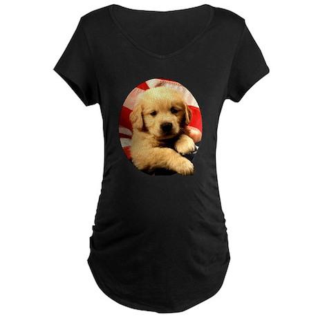 Golden Retriever with Flag Maternity Dark T-Shirt
