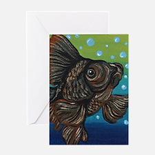 Black Moor Goldfish Greeting Cards