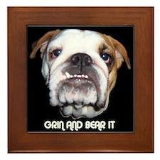 GRIN AND BEAR IT BULLDOG FACE Framed Tile