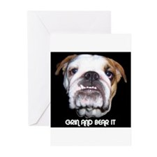 GRIN AND BEAR IT BULLDOG FACE Greeting Cards (Pk o