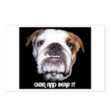 GRIN AND BEAR IT BULLDOG FACE Postcards (Package o