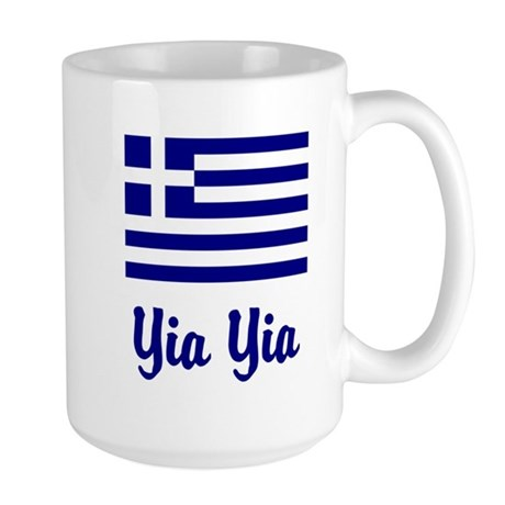Yia Yia with Greek Flag Large Mug