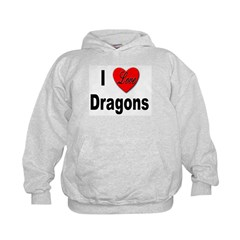 I Love Dragons (Front) Hoodie