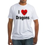 I Love Dragons (Front) Fitted T-Shirt