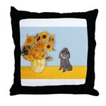 Sunflowers / Poodle (Silver) Throw Pillow