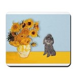 Sunflowers / Poodle (Silver) Mousepad