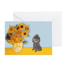Sunflowers / Poodle (Silver) Greeting Card