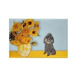 Sunflowers / Poodle (Silver) Rectangle Magnet