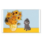 Sunflowers / Poodle (Silver) Sticker (Rectangle 10