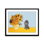 Sunflowers / Poodle (Silver) Framed Panel Print