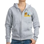 Sunflowers / Poodle (Silver) Women's Zip Hoodie