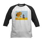 Sunflowers / Poodle (Silver) Kids Baseball Jersey