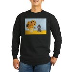 Sunflowers / Poodle (Silver) Long Sleeve Dark T-Sh