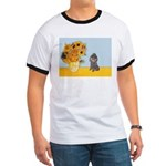 Sunflowers / Poodle (Silver) Ringer T