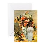 Vase / Poodle (White) Greeting Card