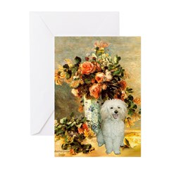 Vase / Poodle (White) Greeting Cards (Pk of 20)