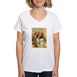 Vase / Poodle (White) Women's V-Neck T-Shirt