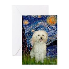 Starry / Poodle (White) Greeting Card