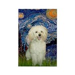 Starry / Poodle (White) Rectangle Magnet (100 pack