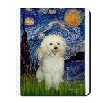 Starry / Poodle (White) Mousepad