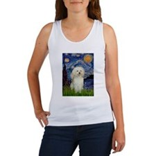 Starry / Poodle (White) Women's Tank Top