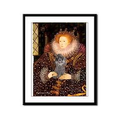 Elizabeth / Poodle (Silver) Framed Panel Print