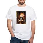 Elizabeth / Poodle (Silver) White T-Shirt