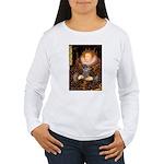 Elizabeth / Poodle (Silver) Women's Long Sleeve T-