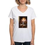 Elizabeth / Poodle (Silver) Women's V-Neck T-Shirt
