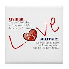 Making Love Civilian vs Military Tile Coaster